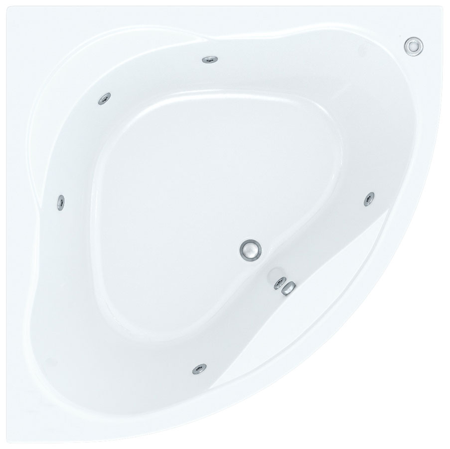 Mevo 1350mm Corner Bath With Wellness Whirlpool Star Buy System
