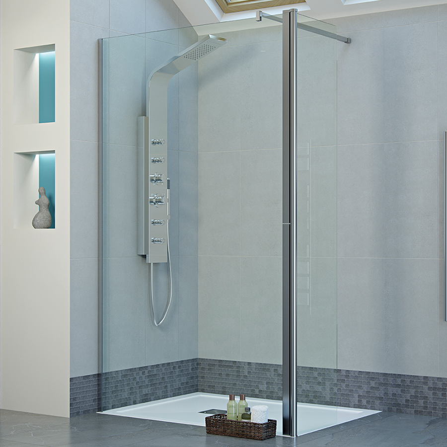 Mist Frameless 1000mm Wetroom Panel With 300mm Rotatable Panel