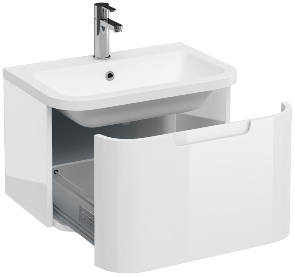 Charmant Aqua Cabinets Compact White 600mm 1 Drawer Wall Hung Basin Vanity Unit