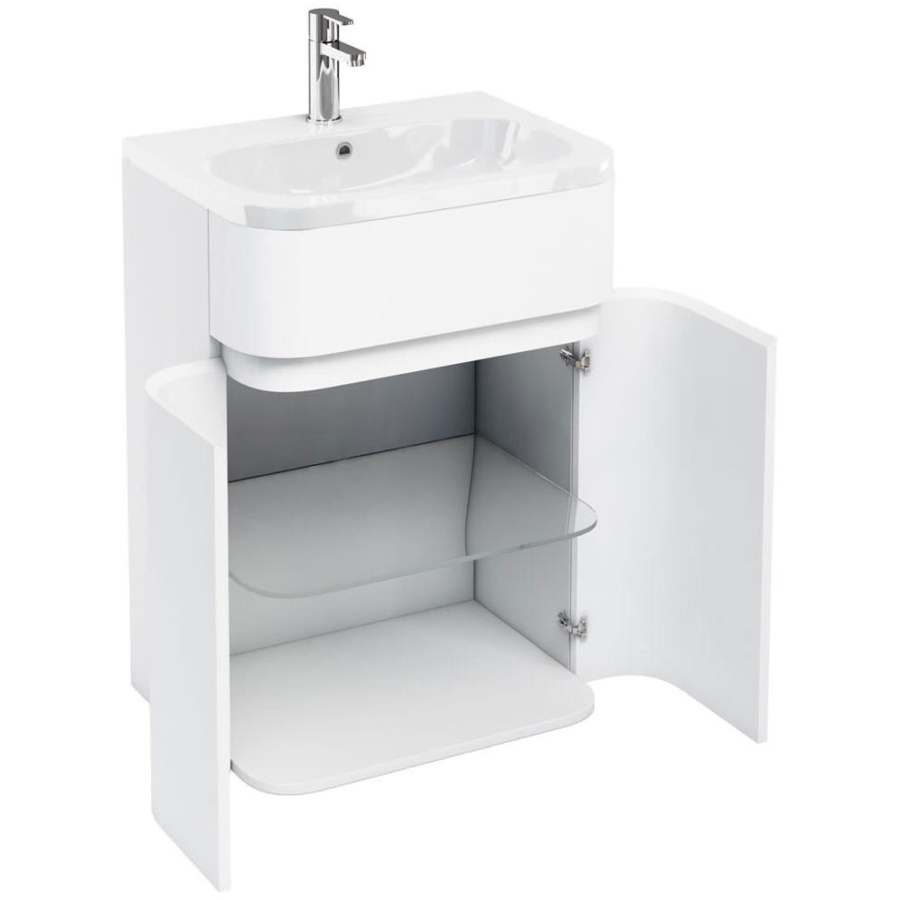 Aqua Cabinets Gullwing White 600mm Floor Standing Vanity Unit With Basin