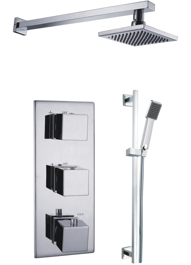 Sumatra Triple Concealed Thermostatic Valve With Shower Set