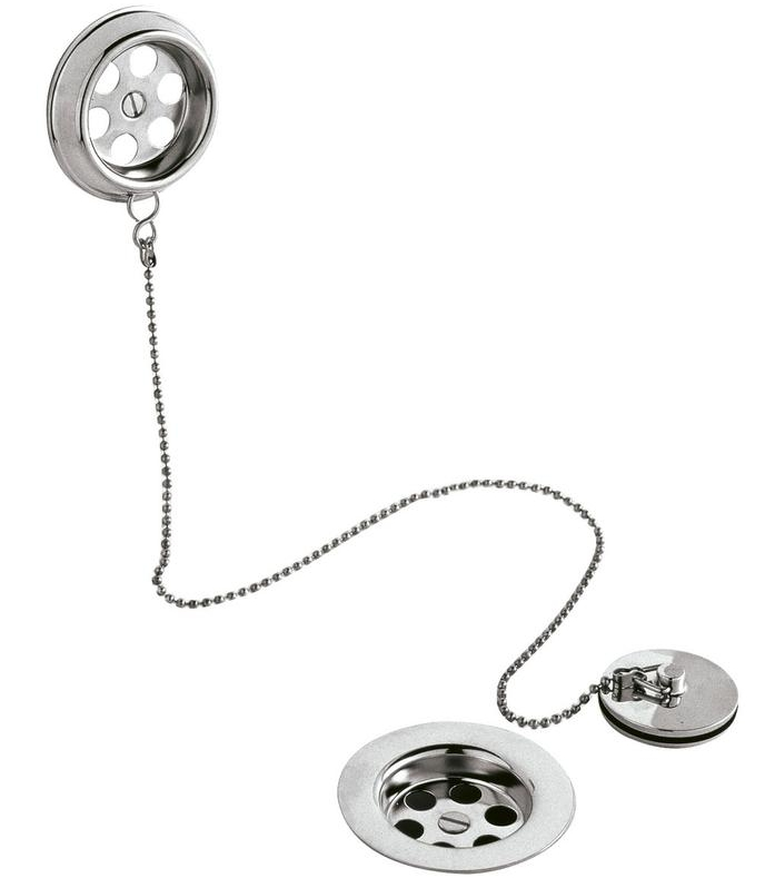 Ultra Retainer Bath Waste And Overflow With Brass Plug And Ball Chain