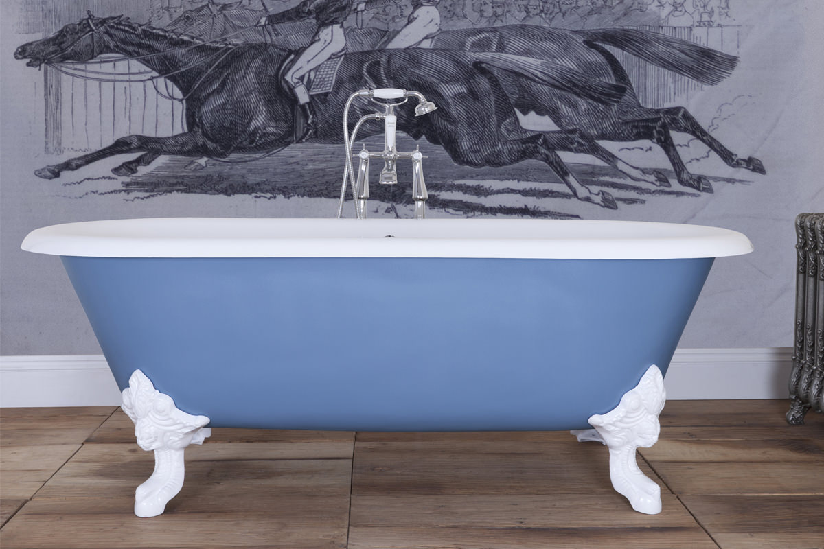 JIG Cartmel Cast Iron Free Standing Bath With White Feet 1840 x 800mm