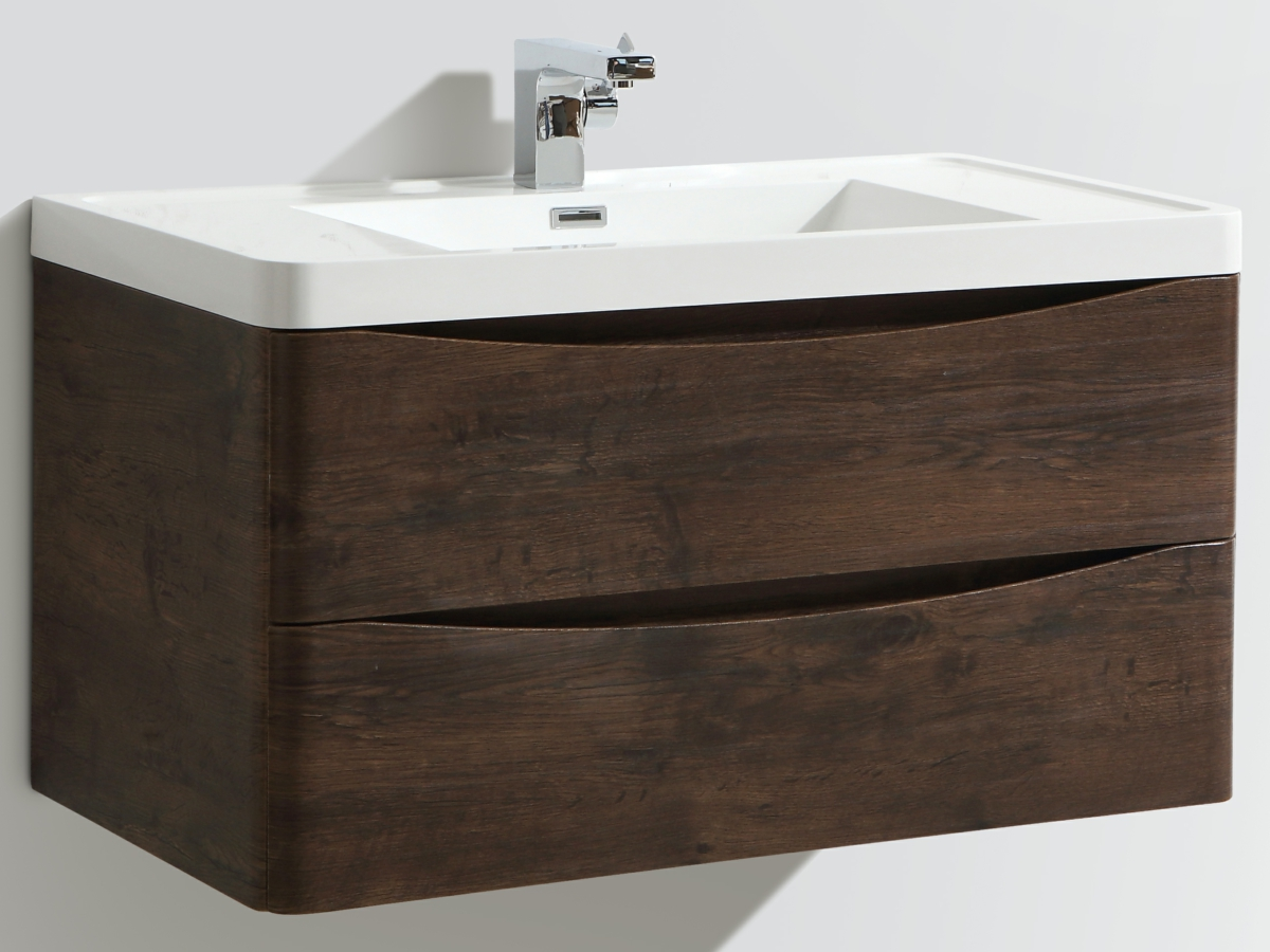 Bali Chestnut 900mm Wall Mounted Vanity Unit With Basin