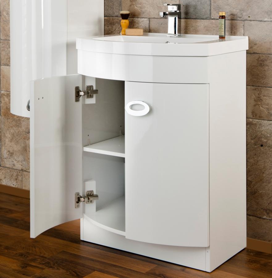 white sink vanity unit. Alternate image of Cassellie D Shaped Gloss White Basin Vanity Unit 600mm