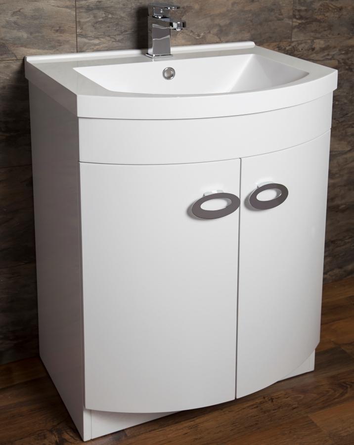 white sink vanity unit.  Cassellie D Shaped Gloss White Basin Vanity Unit 600mm
