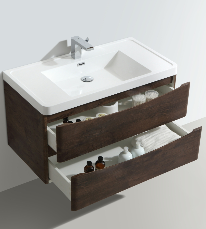 Bali Chestnut 900mm Wall Mounted Vanity Unit With Basin · Additional Image  Of WMC894C