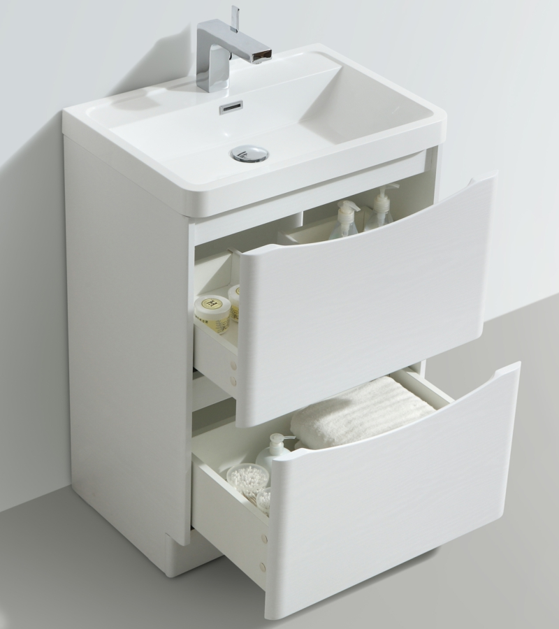 Bali White Ash 600mm Free Standing Vanity Unit With Basin