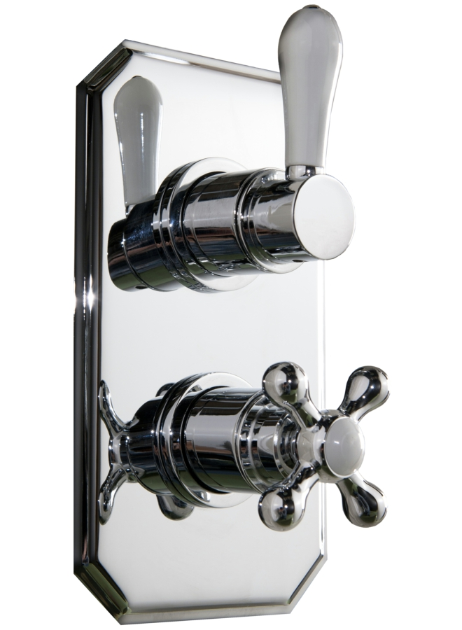 Cassellie Traditional Twin Concealed Thermostatic Shower Valve