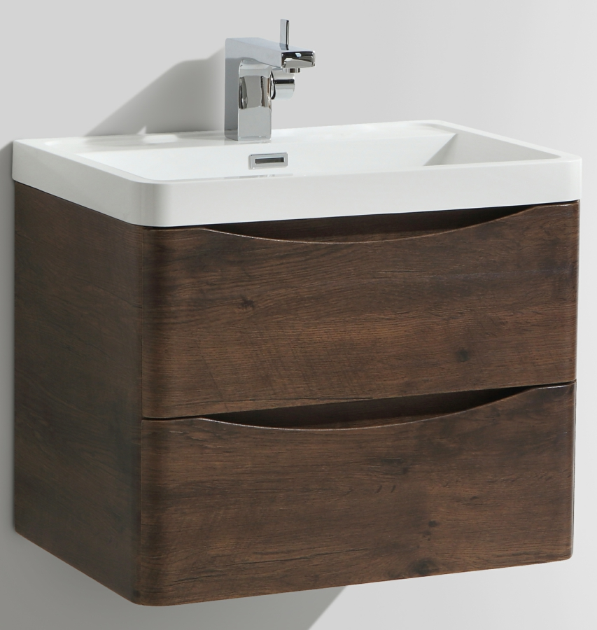 Additional Image Of Bali Chestnut 600mm Wall Mounted Vanity Unit With Basin