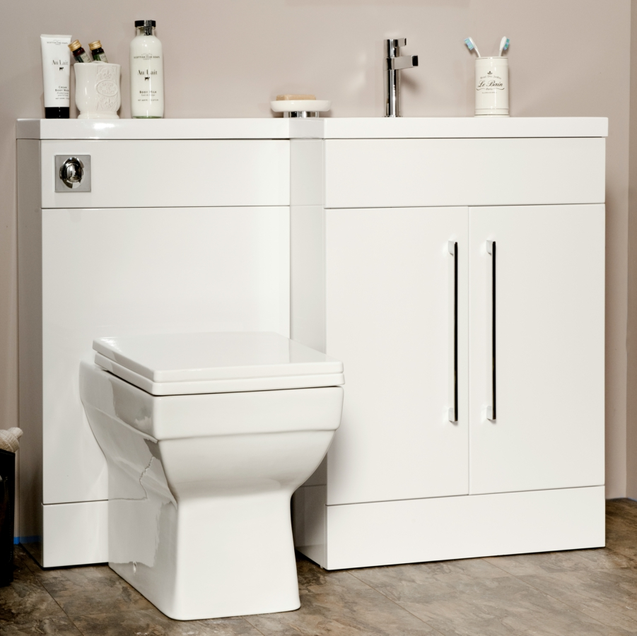 Cassellie l shaped white basin vanity and back to wall wc unit for L shaped bathroom vanity for sale