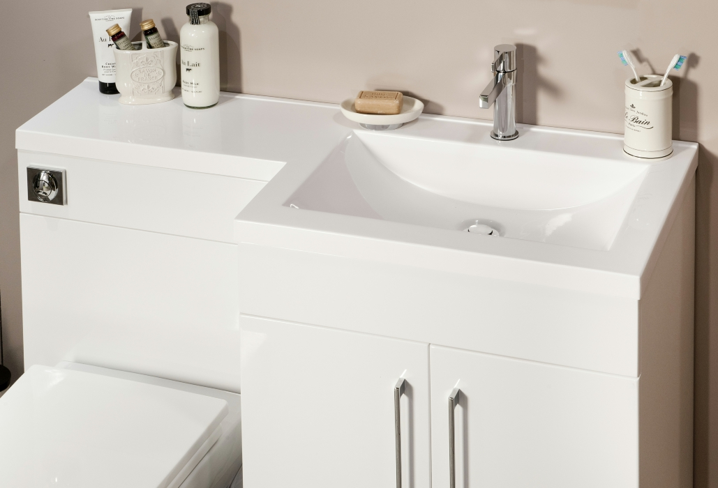Cassellie L Shaped White Basin Vanity And Back To Wall Wc Unit