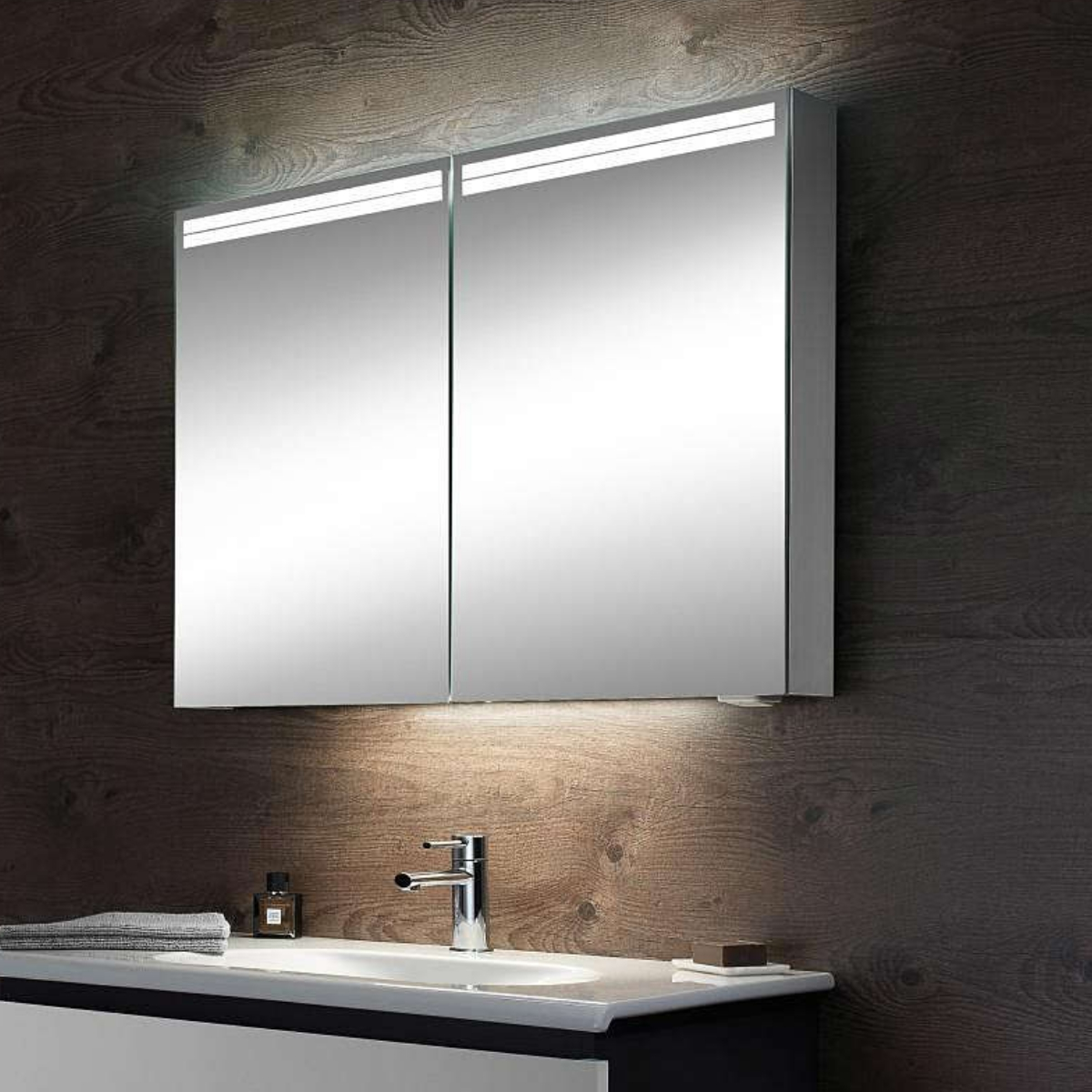 Schneider Arangaline 900mm 2 Door Mirror Cabinet