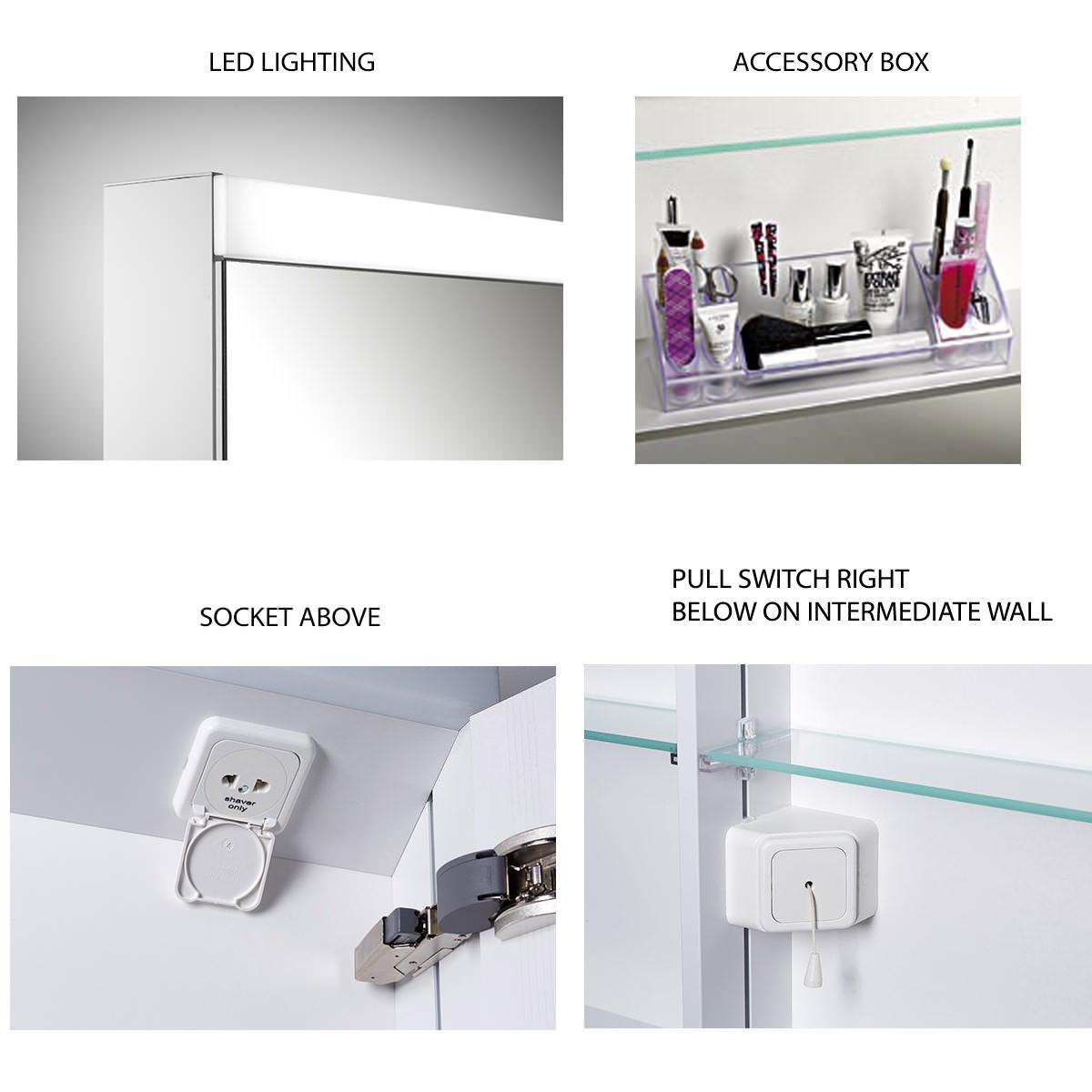 Schneider Pataline 1000mm 3 Door Mirror Cabinet With LED Light