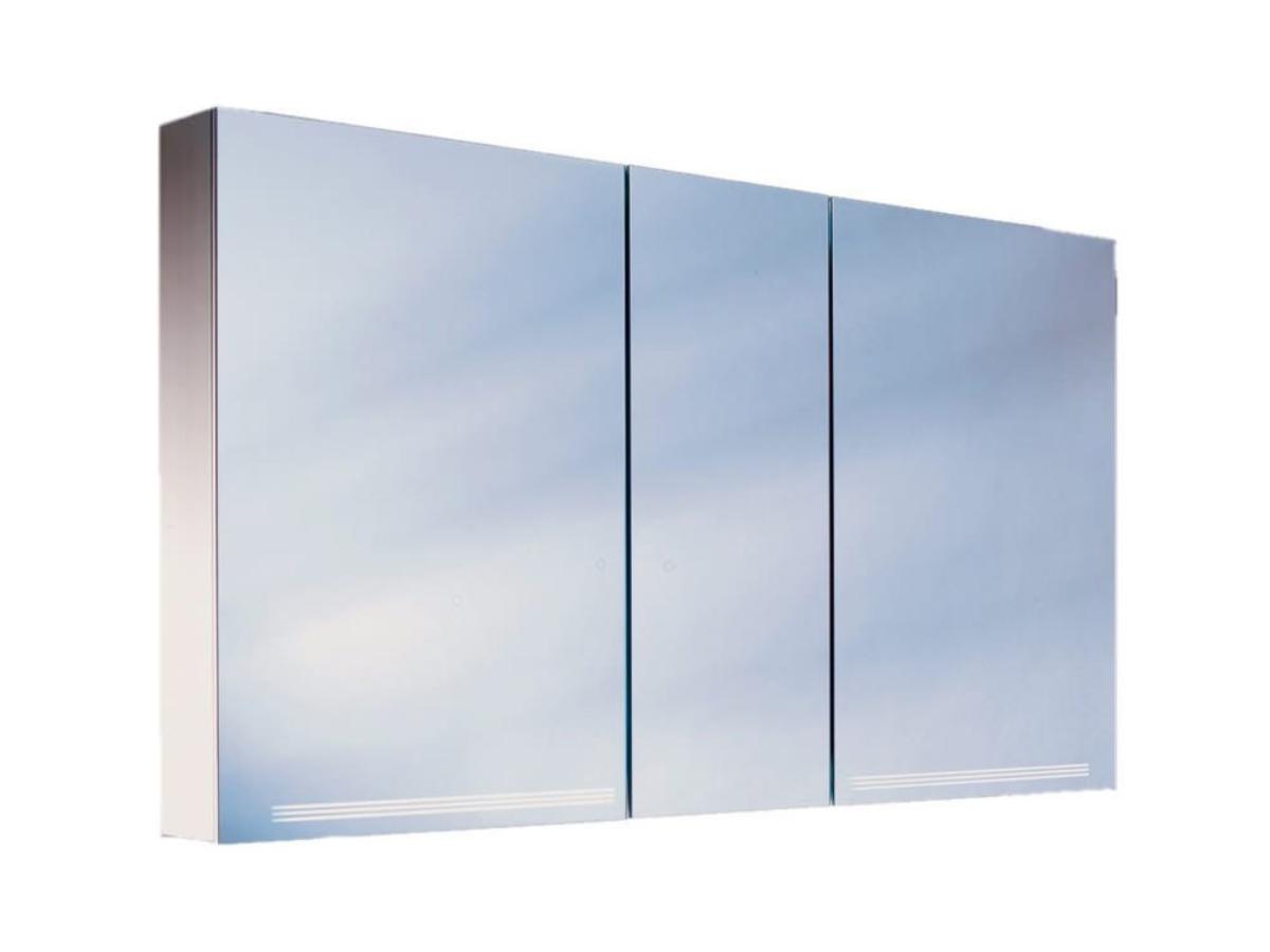 Illuminated Mirror Glass Cabinet: Schneider Graceline 3 Door 1300mm Illuminated Mirror Cabinet