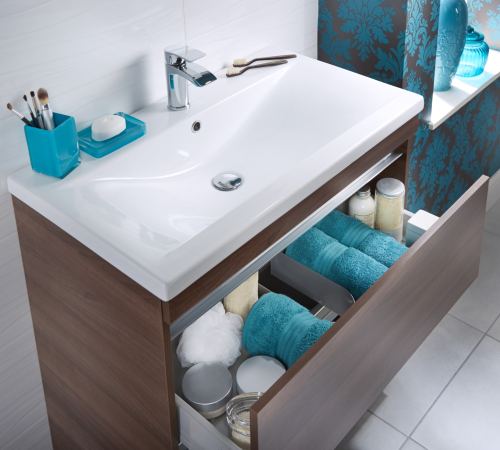 Additional Image Of Utopia Qube 800mm Floorstanding 2 Drawer Reduced Unit  With Ceramic Basin