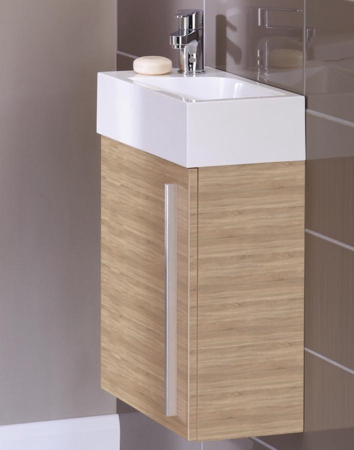 Noble Modular Natural Oak 400mm Wall Hung Cloakroom Basin Unit