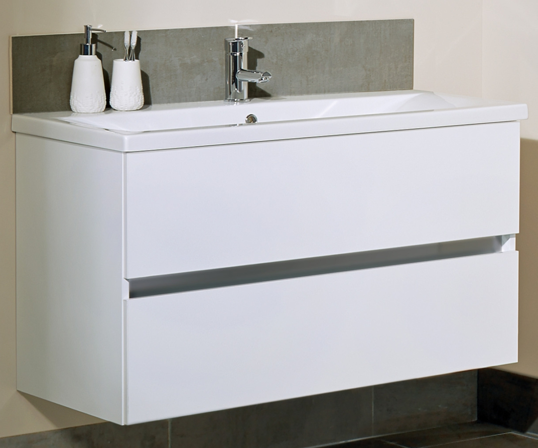 Alternate Image Of Utopia Qube 800mm Wall Hung Double Drawer Reduced Unit  With Ceramic Basin