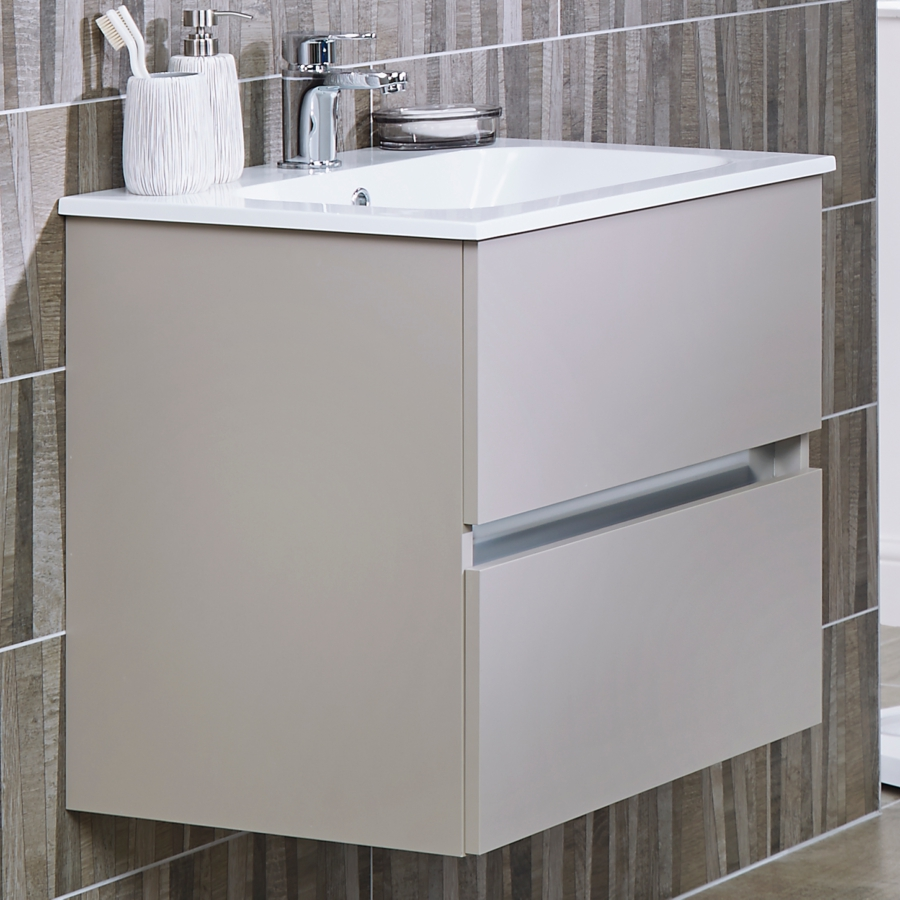 Alternate Image Of Utopia Qube 800mm Wall Hung 2 Drawer Reduced Unit With  Mineralcast Basin