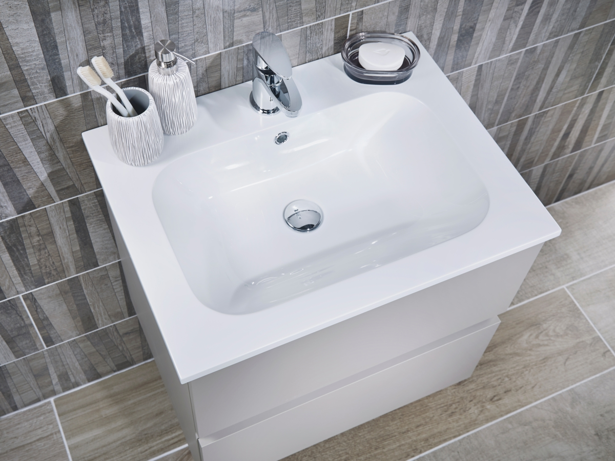 Utopia Qube 600mm Wall Hung 2 Drawer Reduced Unit With Mineralcast Basin