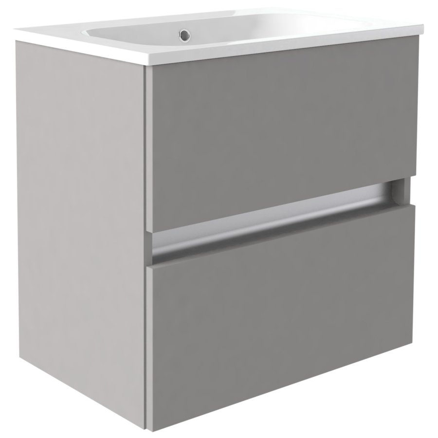 Utopia Qube 800mm Wall Hung 2 Drawer Reduced Unit With Mineralcast Basin