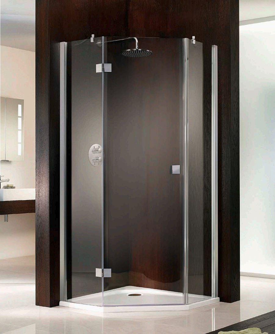 Hsk atelier single pivot door pentagon shower enclosure for 1000 pivot shower door