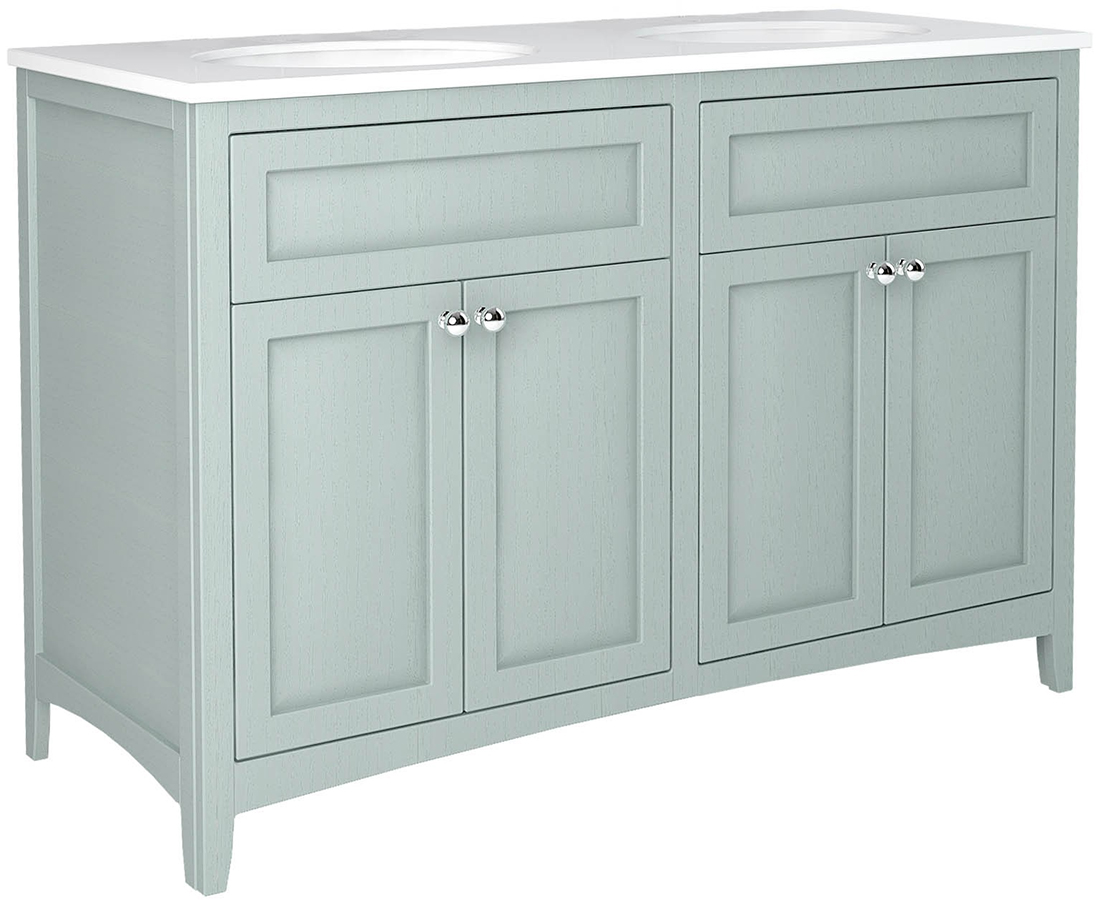 Downton 1200mm Vanity Unit With 2 Basins And Solid Surface Worktop