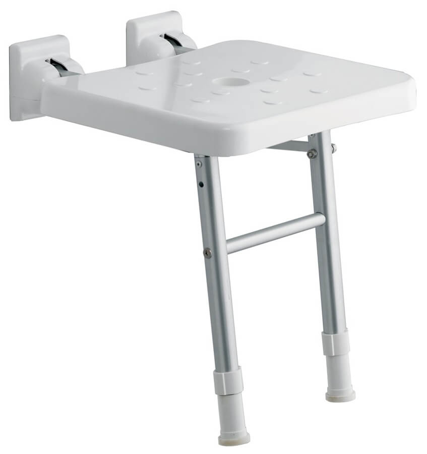 QX Comfort Fold-Up Shower Seat With Legs White