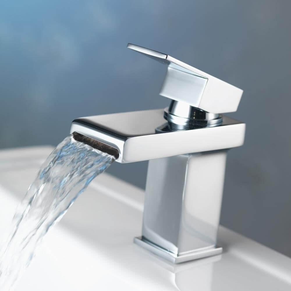 AMAZING FORCE Basin Taps Waterfall Bathroom Sink Taps Basin Mixer Tap Chrome