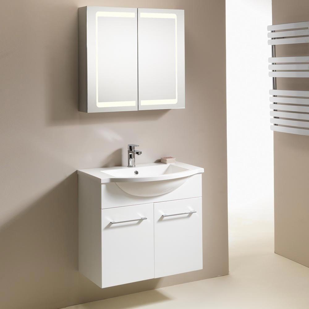 QX Eden 700mm 2-Door Wall-Hung Base Unit - Gloss White