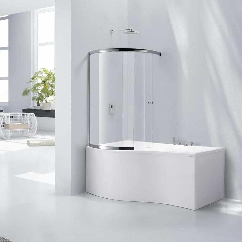 Frontline Aquaglass+ 6mm 395 x 1500mm Sliding Curved Bath Screen