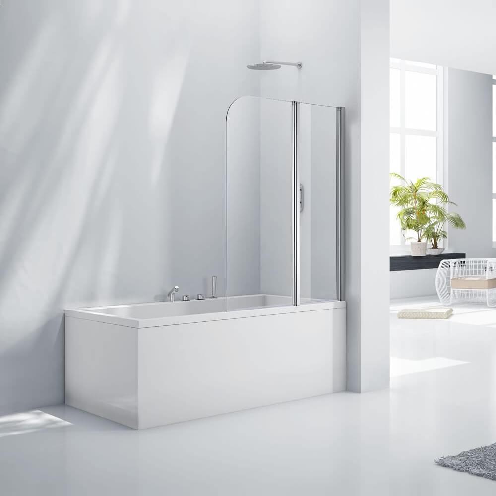 Frontline Aquaglass+ 6mm Double Folding Bath Screen 1200 x 1500mm