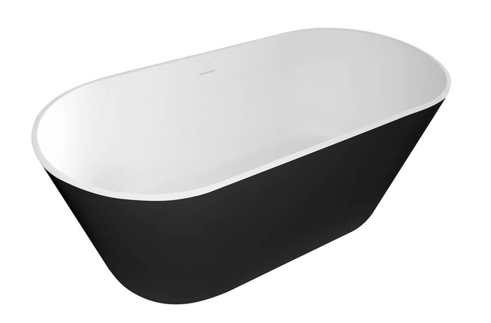 Frontline 1700 x 800mm Graphite Stone Freestanding Bath With Black Outer